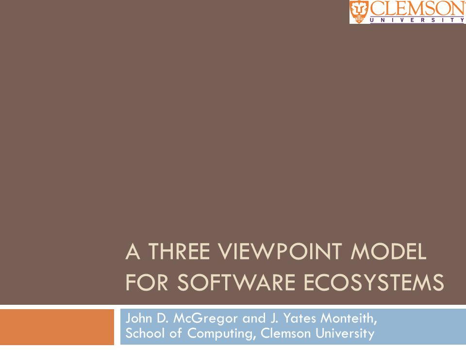 A Three Viewpoint Model for Software Ecosystems