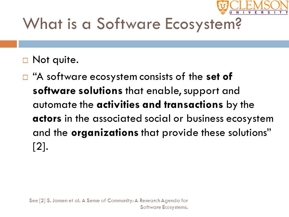 What is a Software Ecosystem