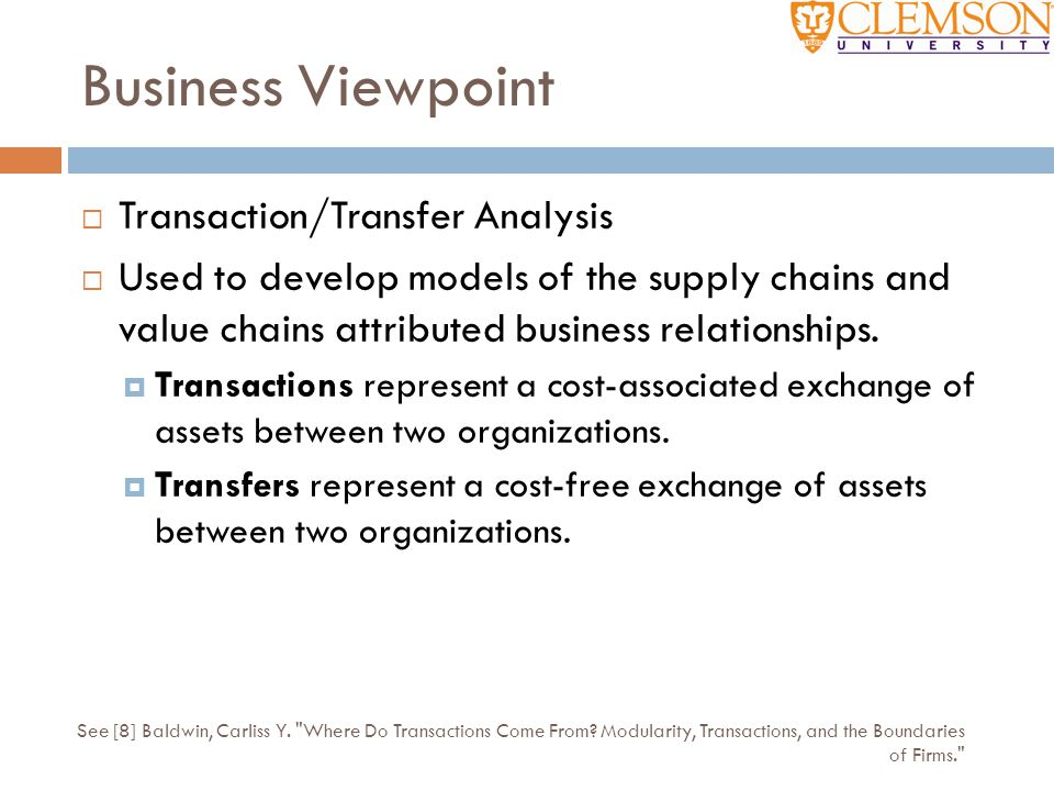 Business Viewpoint Transaction/Transfer Analysis