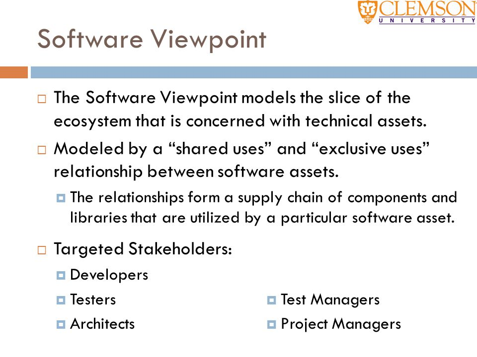 Software Viewpoint The Software Viewpoint models the slice of the ecosystem that is concerned with technical assets.