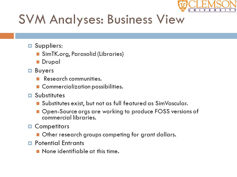 SVM Analyses: Business View