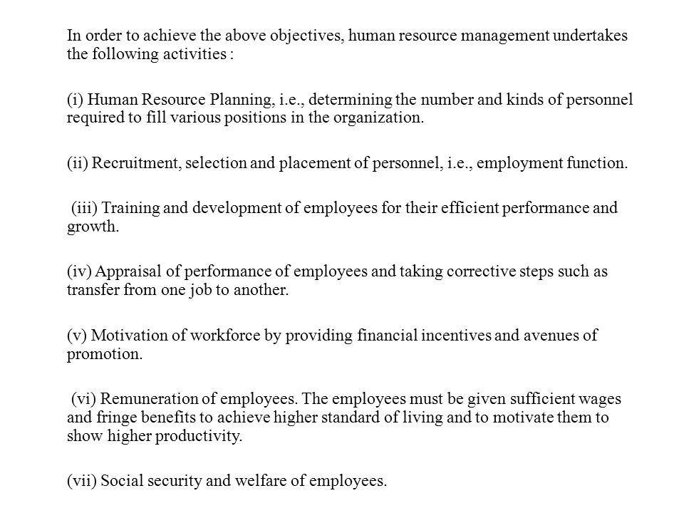 (vii) Social security and welfare of employees.