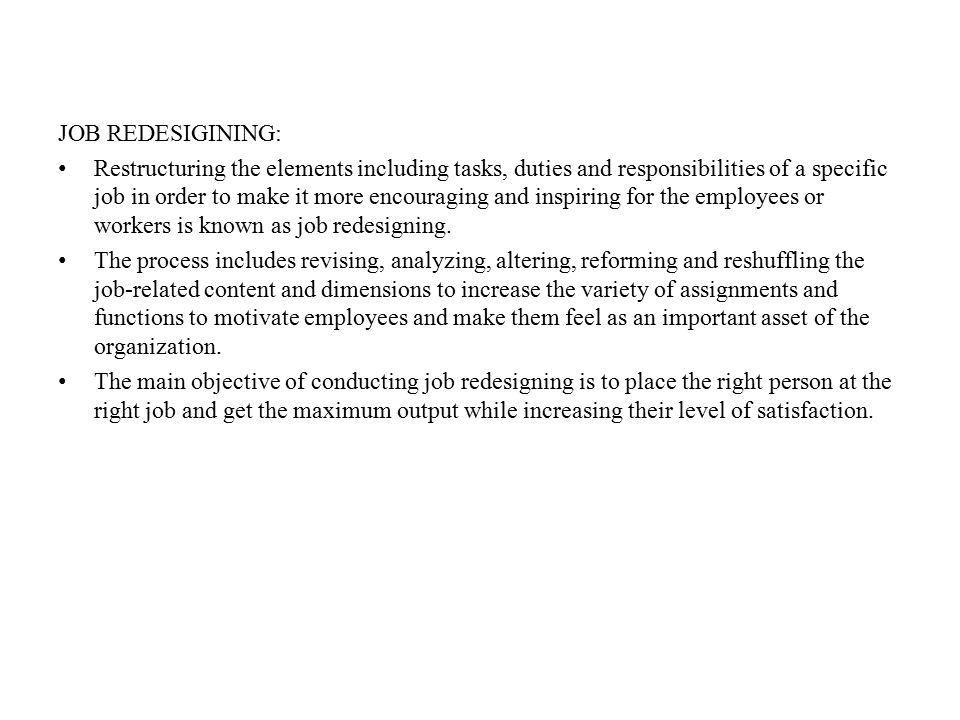 JOB REDESIGINING: