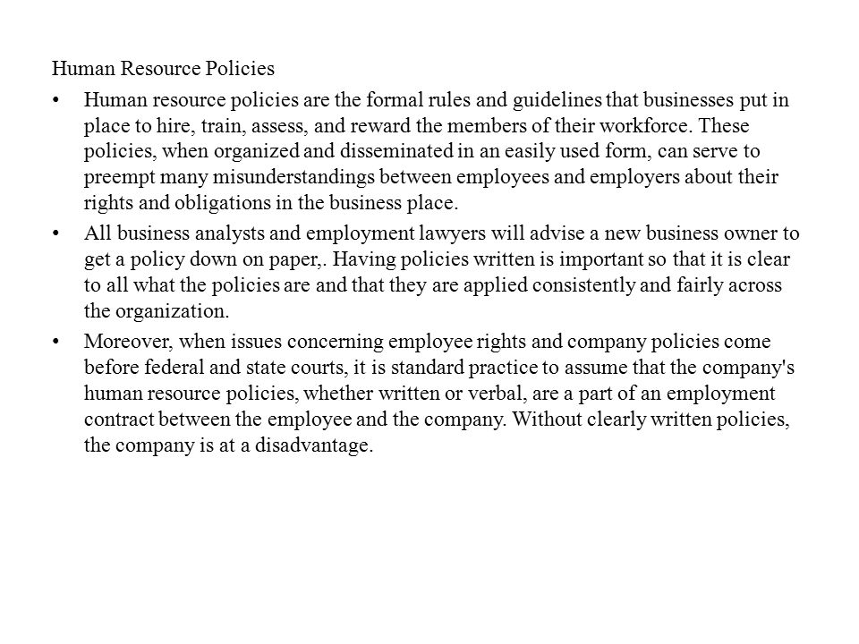 Human Resource Policies