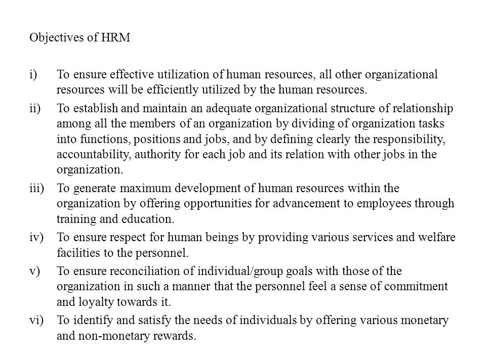 Objectives of HRM