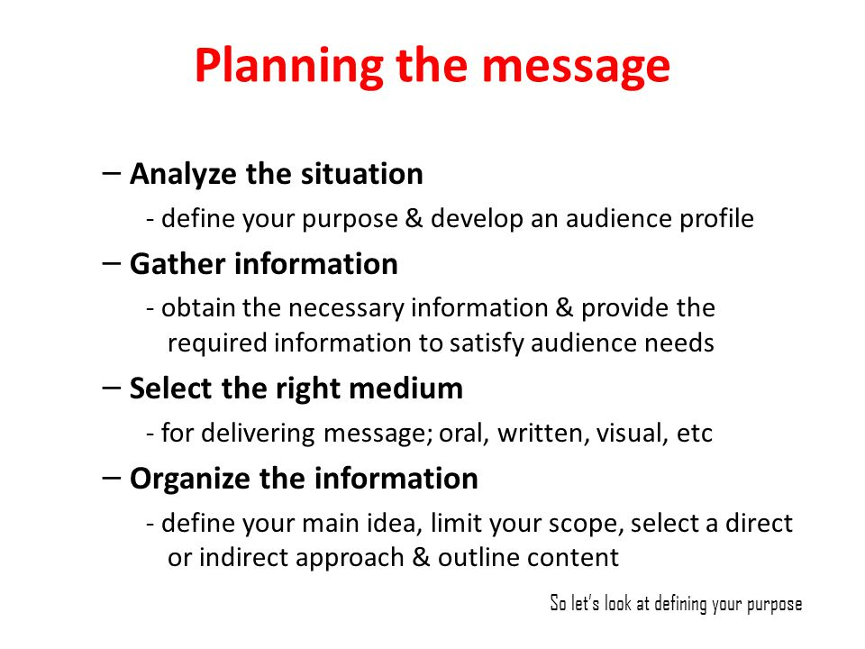 Planning the message Analyze the situation Gather information