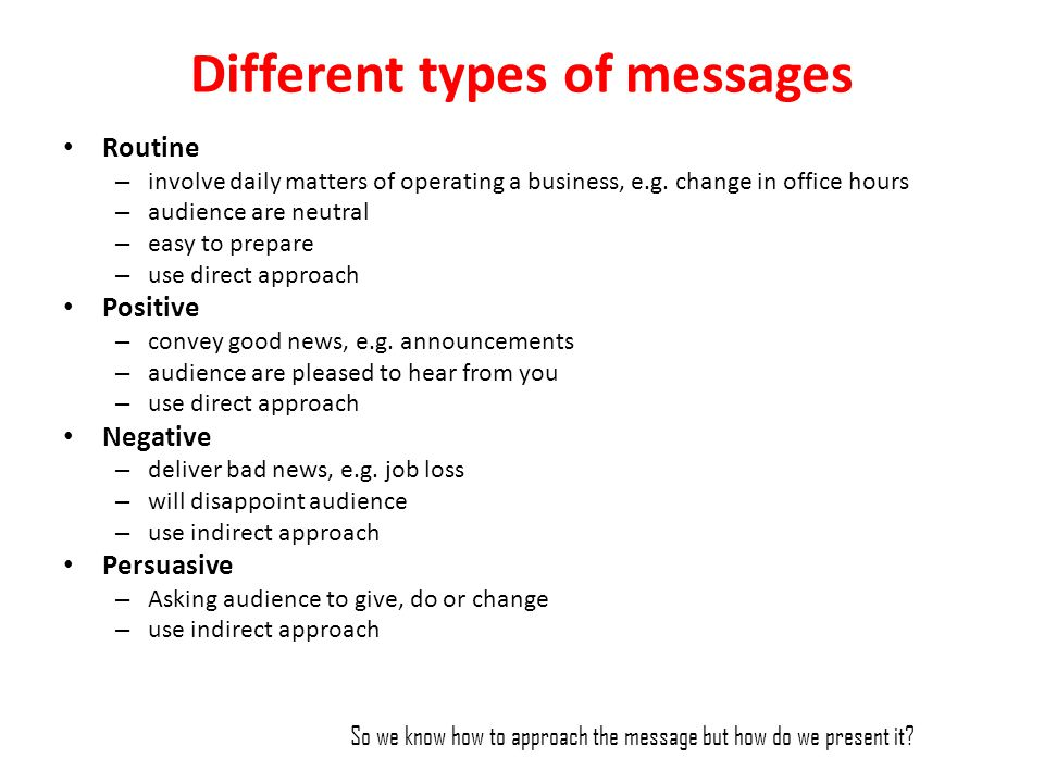 Different types of messages