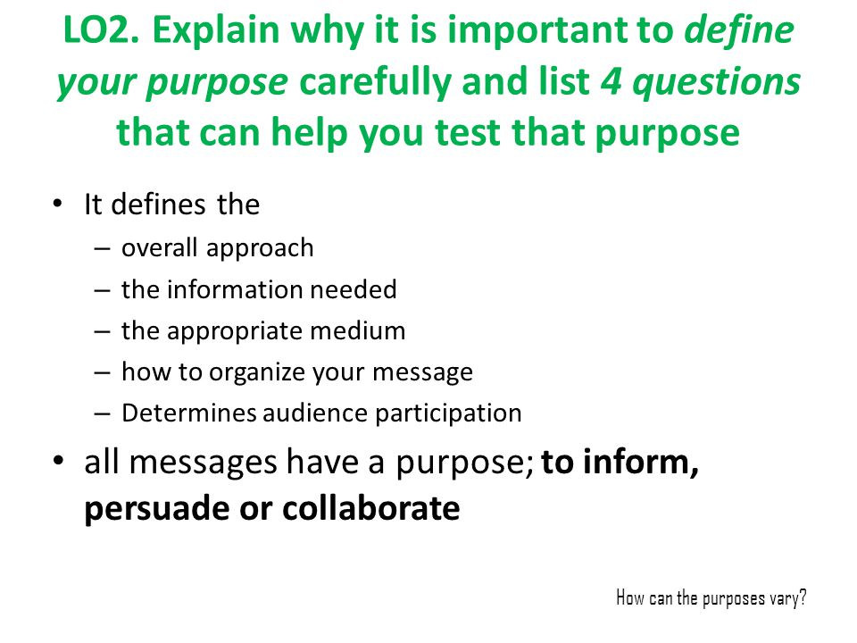 LO2. Explain why it is important to define your purpose carefully and list 4 questions that can help you test that purpose