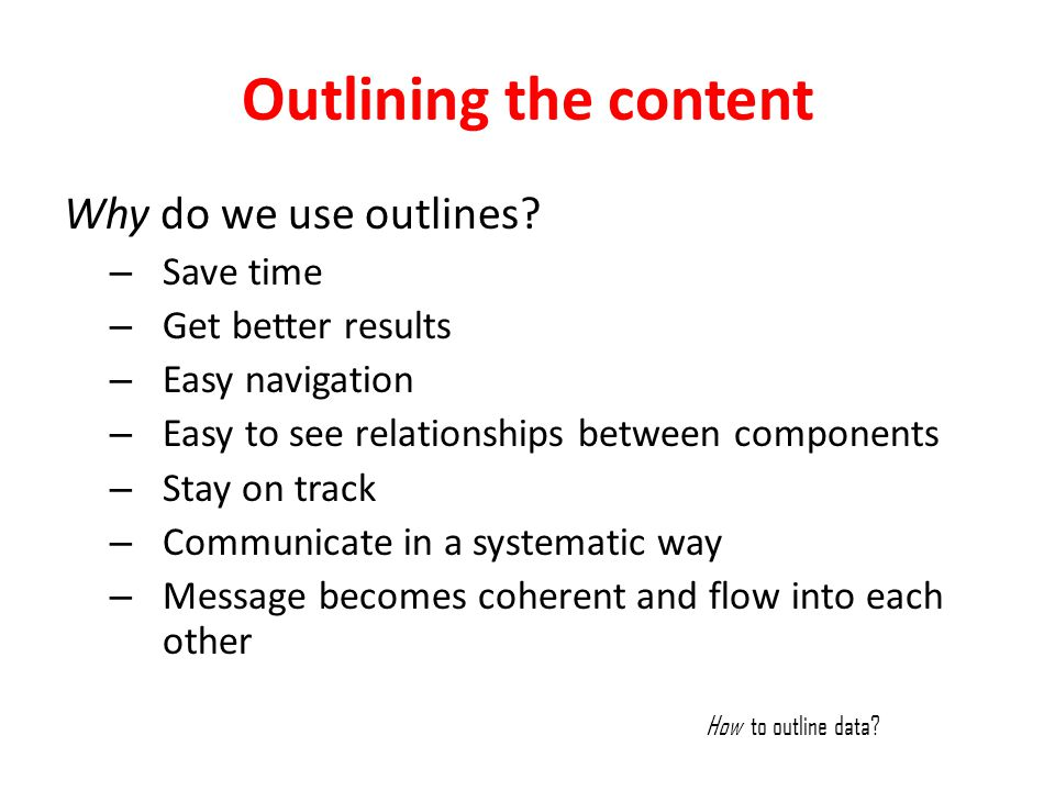 Outlining the content Why do we use outlines Save time