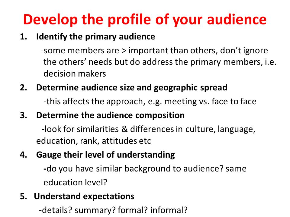 what are some audience characteristics you need to consider Consider how you relate to the audience with respect to several of the characteristics above: are you similar to your audience analysis lets you make a.