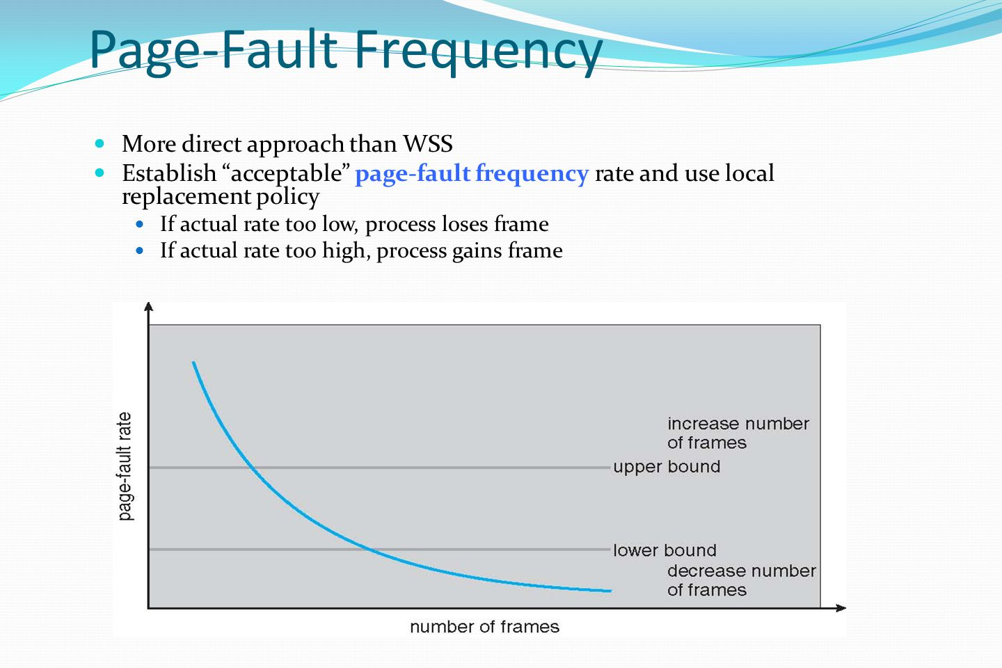 Page-Fault Frequency More direct approach than WSS