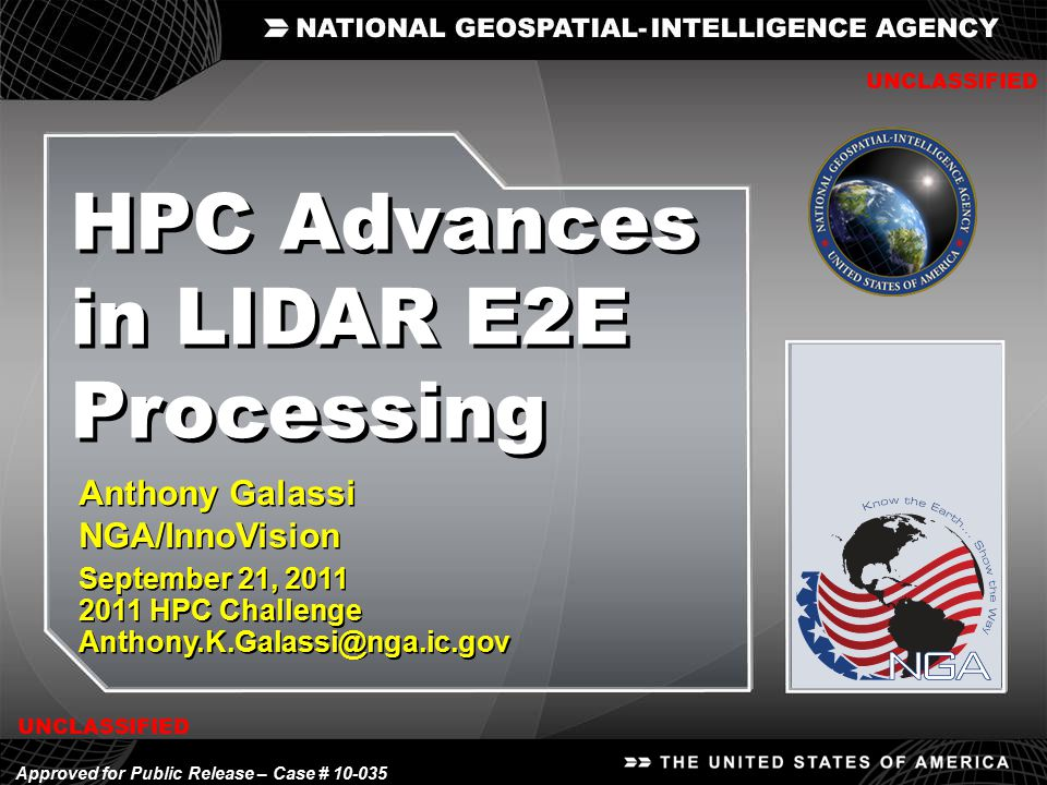 HPC Advances in LIDAR E2E Processing