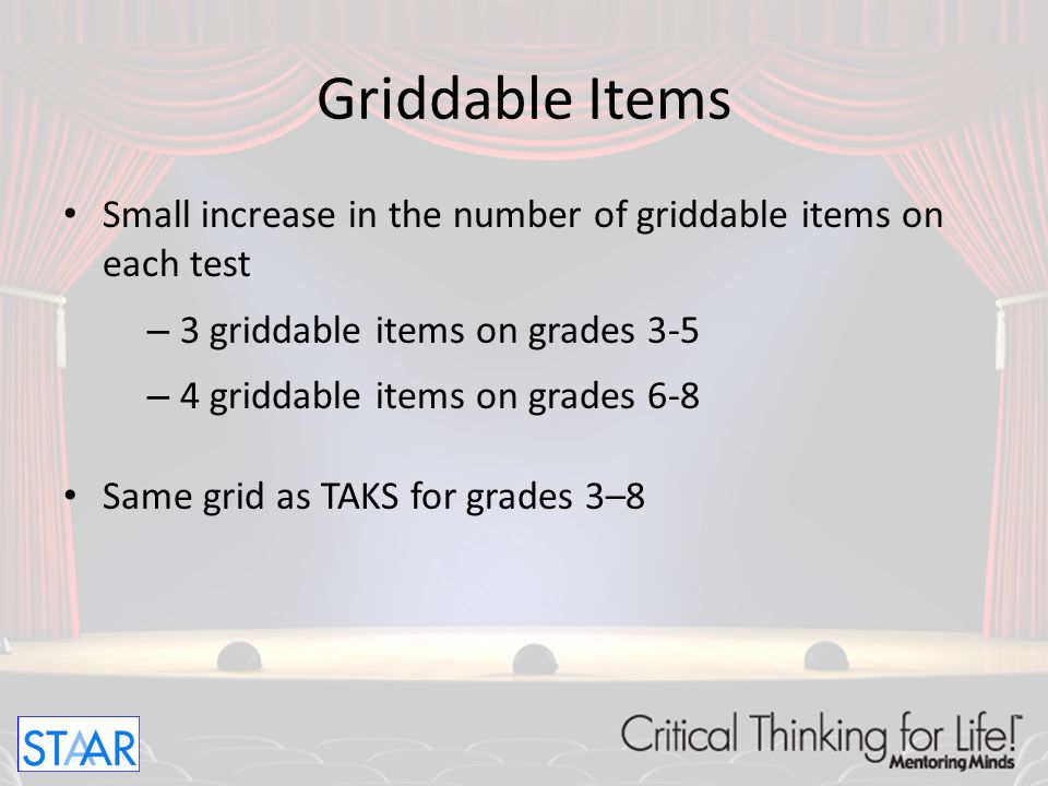 Griddable Items Small increase in the number of griddable items on each test. 3 griddable items on grades 3-5.