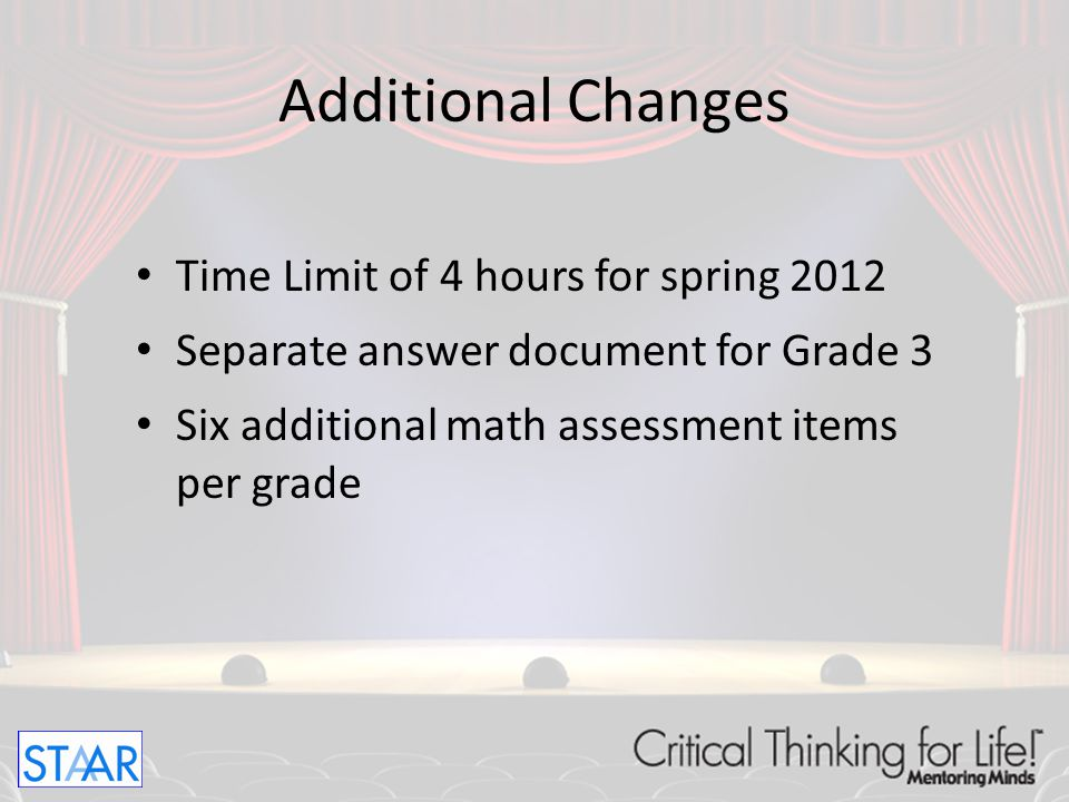 Additional Changes Time Limit of 4 hours for spring 2012