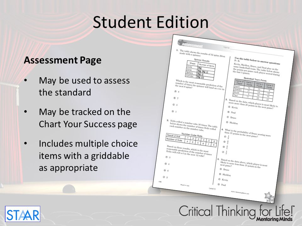Student Edition Assessment Page May be used to assess the standard
