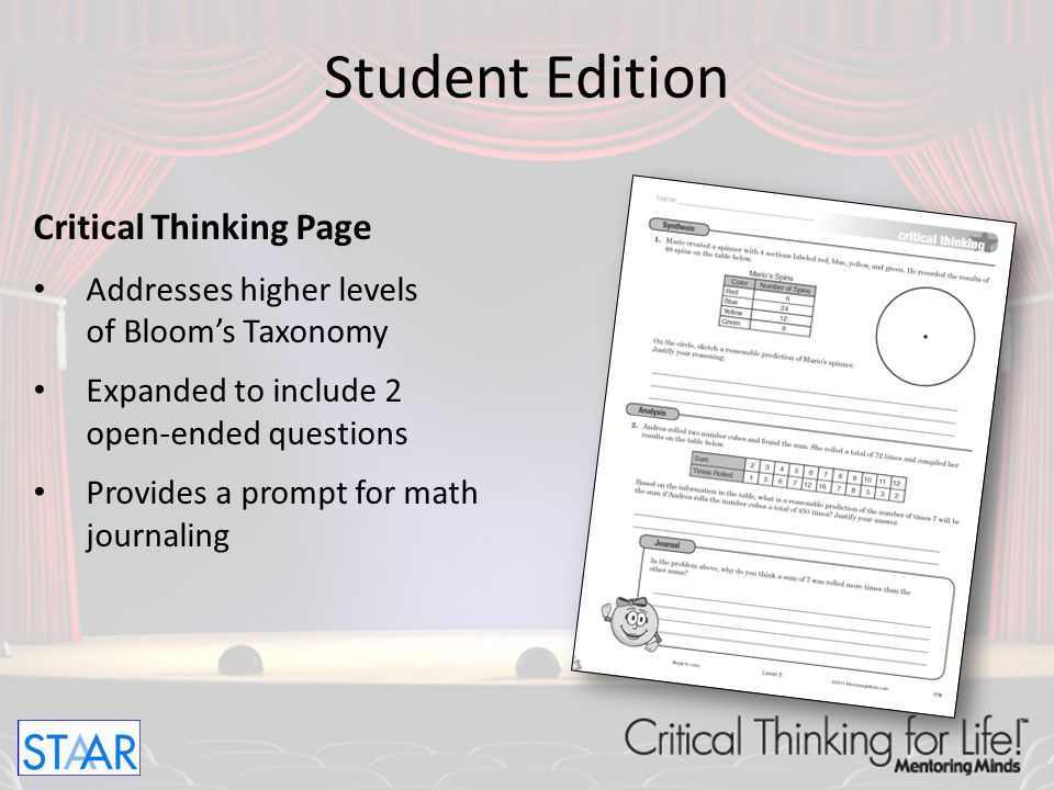 Student Edition Critical Thinking Page