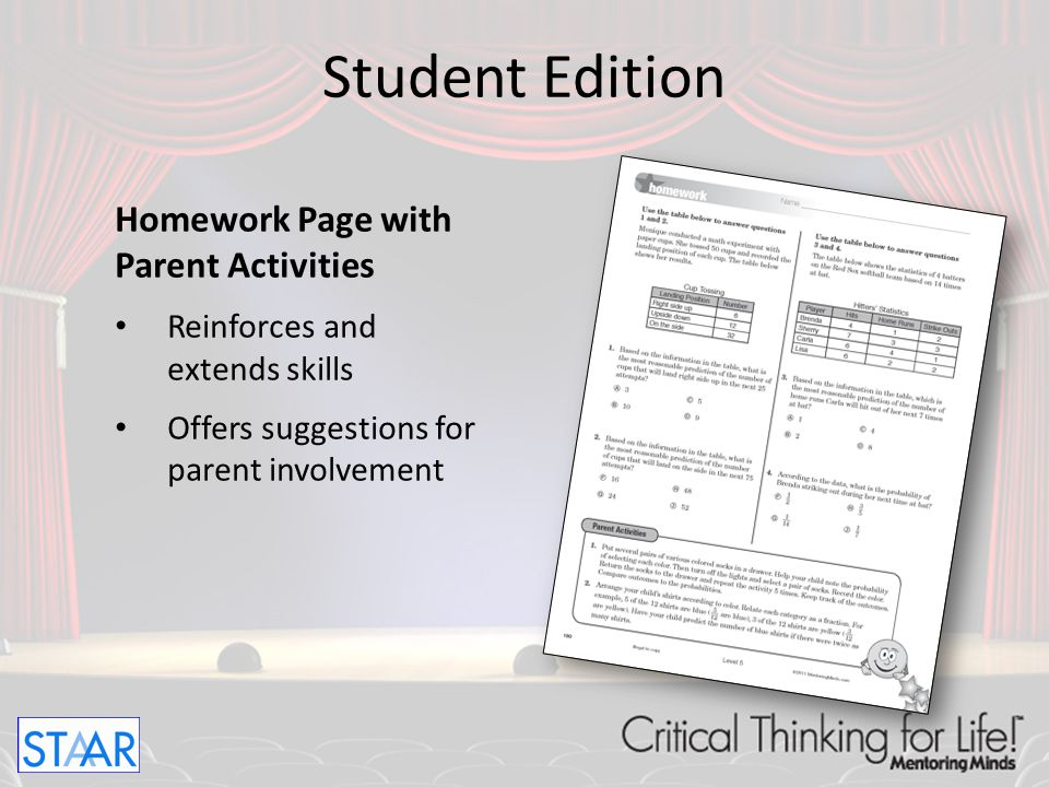 Student Edition Homework Page with Parent Activities
