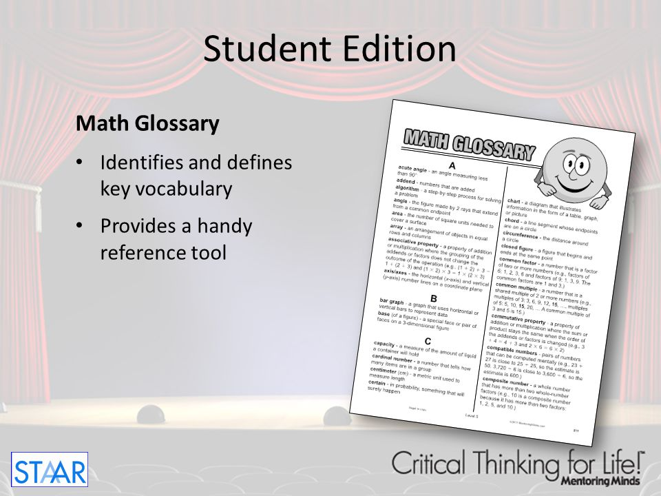 Student Edition Math Glossary Identifies and defines key vocabulary