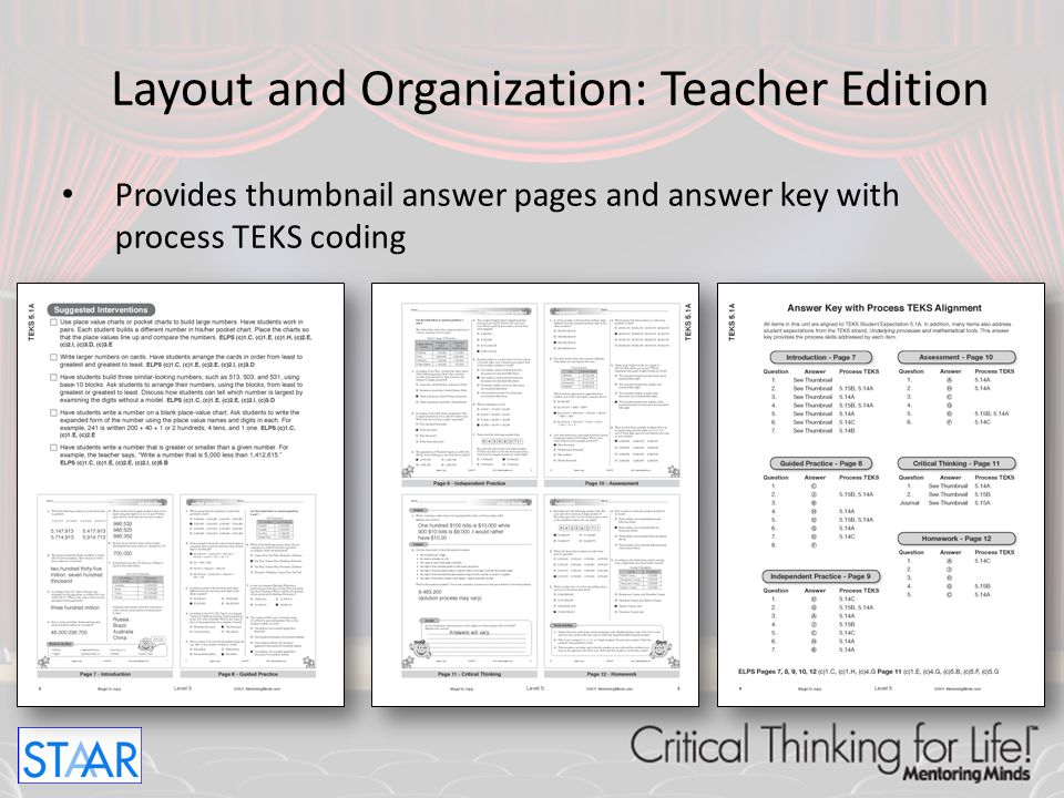 Layout and Organization: Teacher Edition