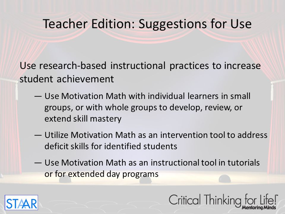 Teacher Edition: Suggestions for Use