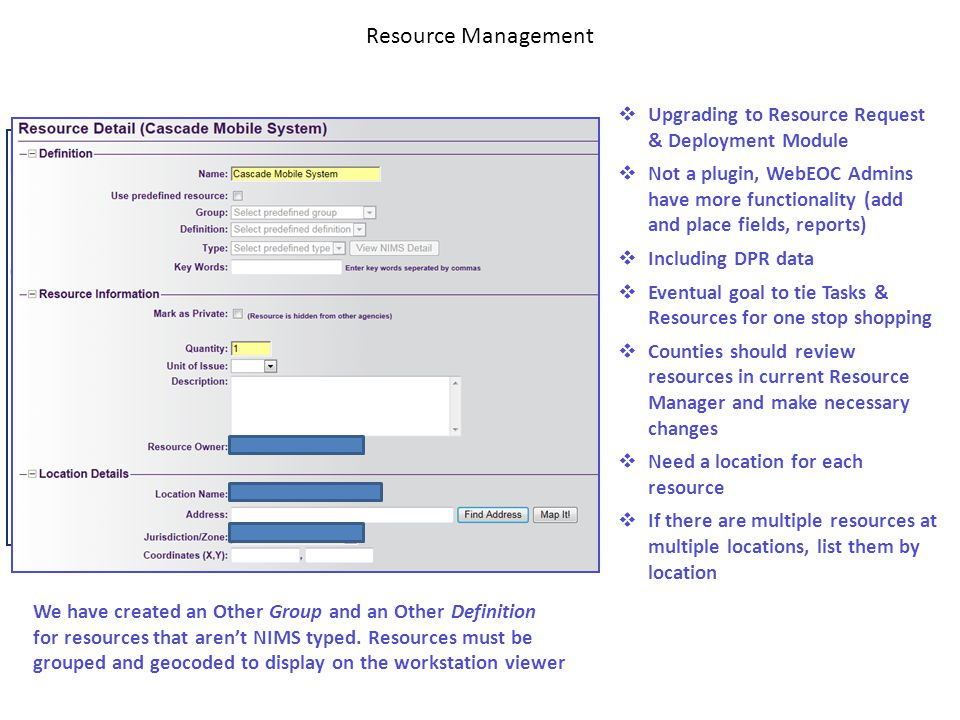 Resource Management Upgrading to Resource Request & Deployment Module