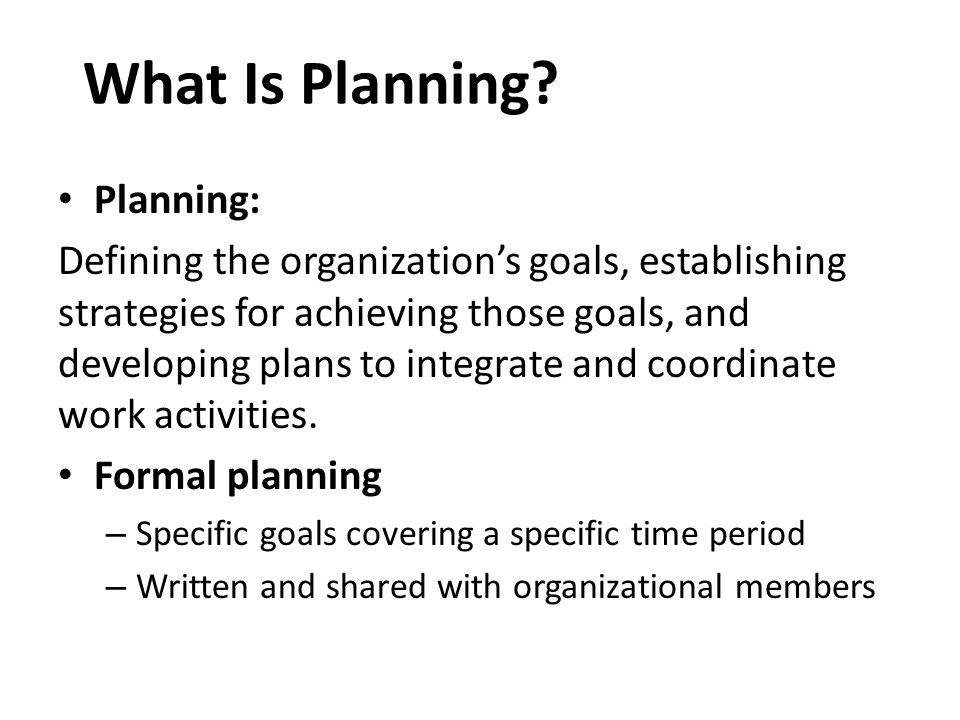 What Is Planning Planning: