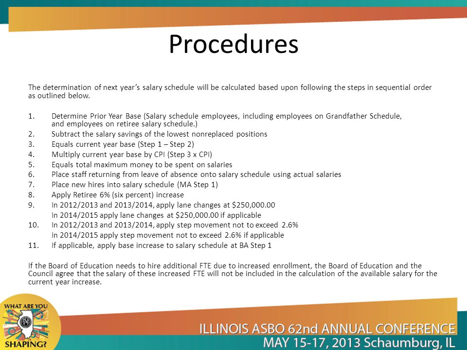 Procedures The determination of next year's salary schedule will be calculated based upon following the steps in sequential order as outlined below.