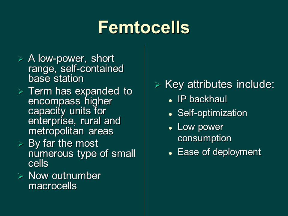 Femtocells Key attributes include: