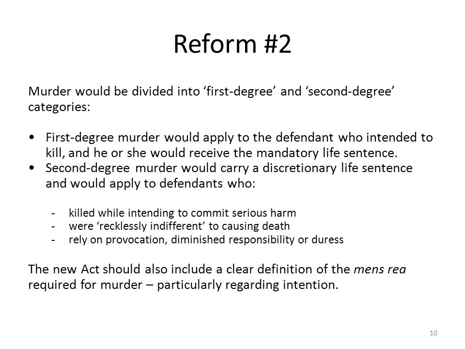 Reform #2 Murder would be divided into 'first-degree' and 'second-degree' categories: