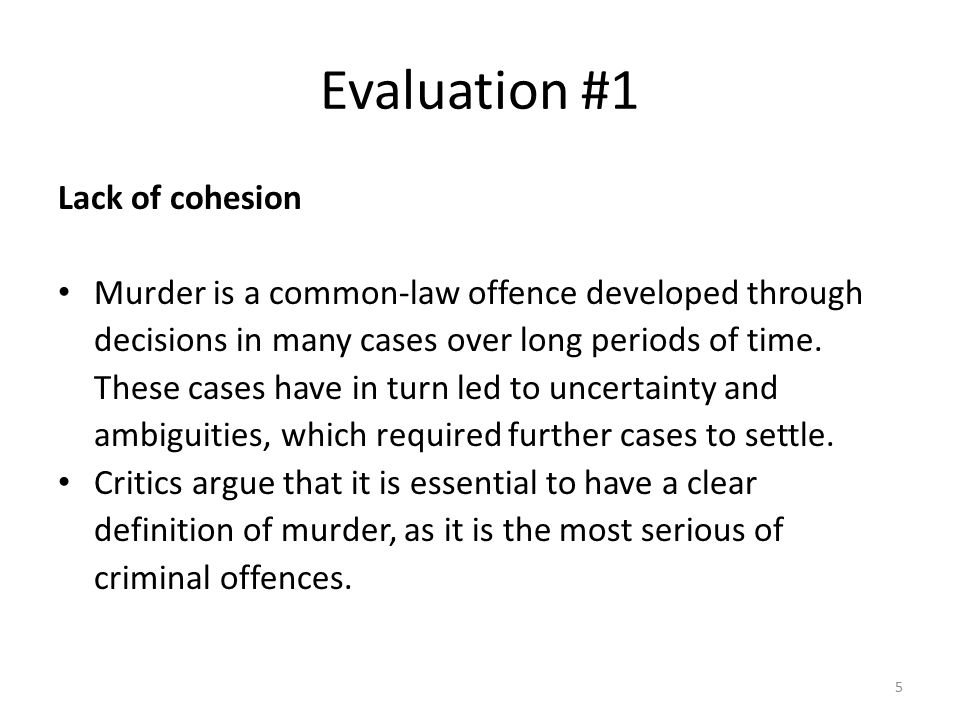 Evaluation #1 Lack of cohesion