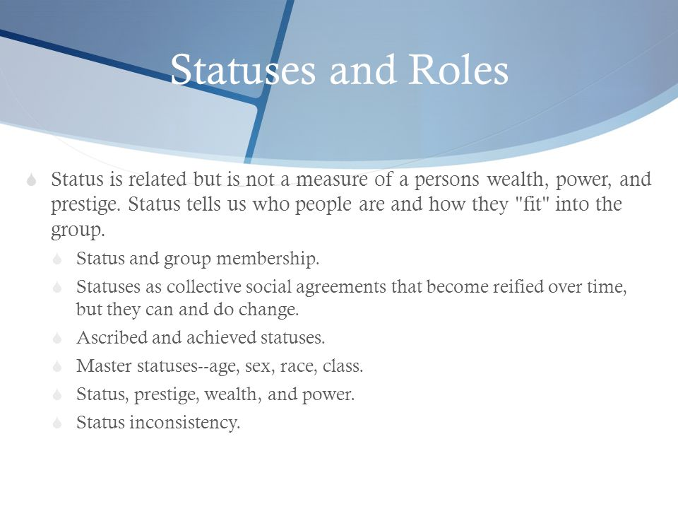 Statuses and Roles