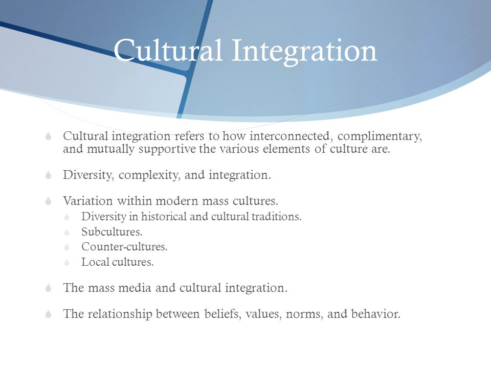 Cultural Integration Cultural integration refers to how interconnected, complimentary, and mutually supportive the various elements of culture are.