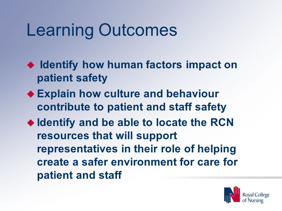 Learning Outcomes Identify how human factors impact on patient safety