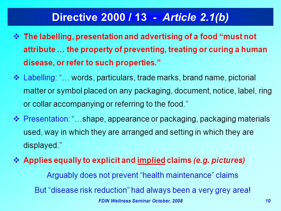 Directive 2000 / 13 - Article 2.1(b)