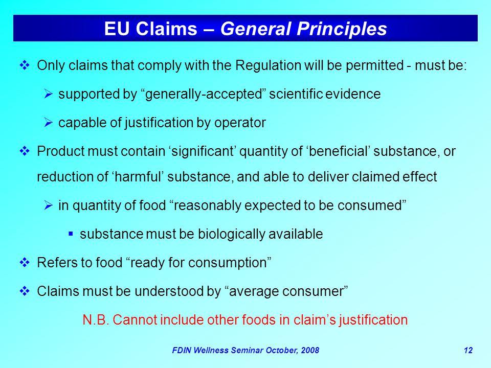 EU Claims – General Principles