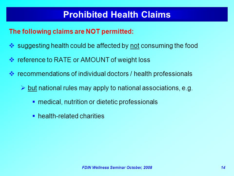 Prohibited Health Claims