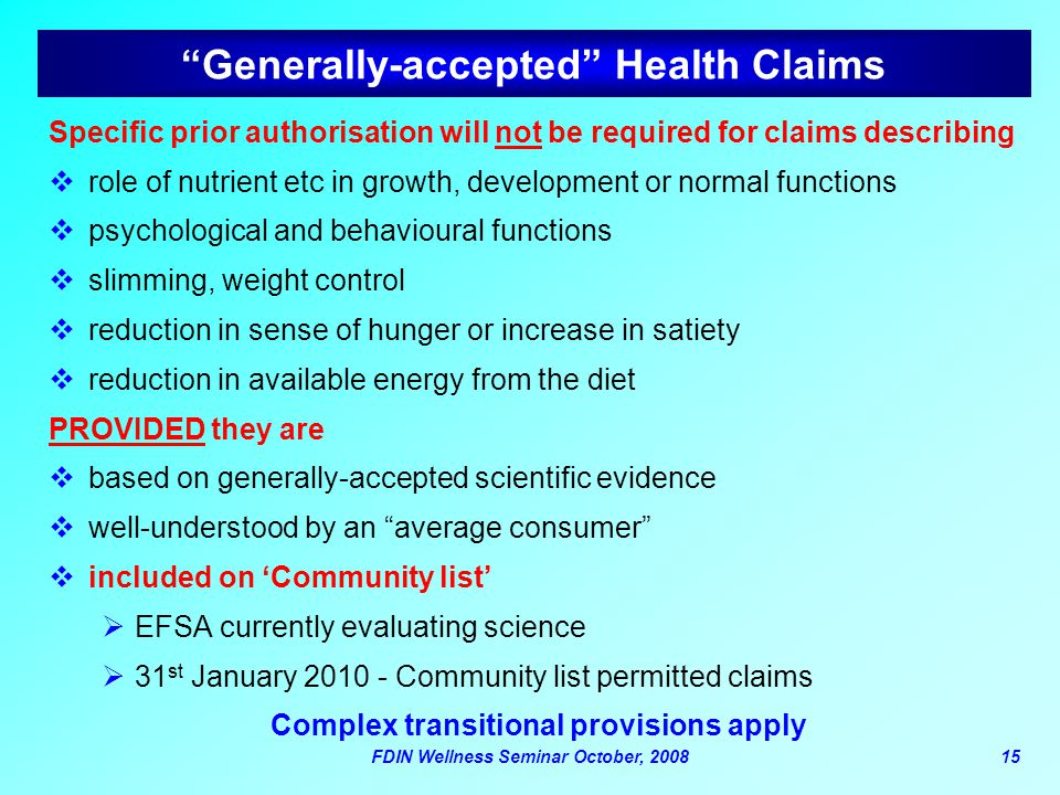 Generally-accepted Health Claims