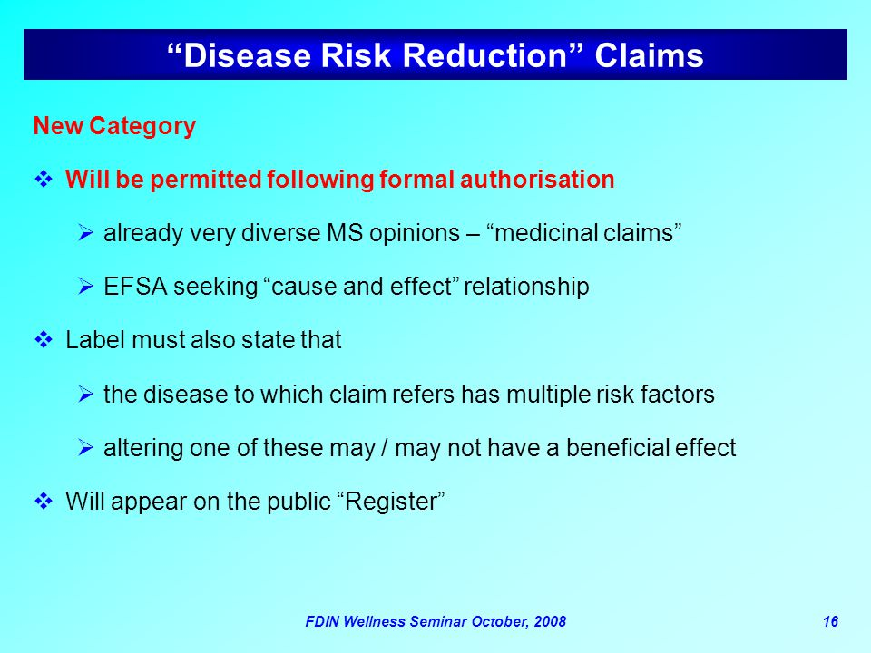 Disease Risk Reduction Claims
