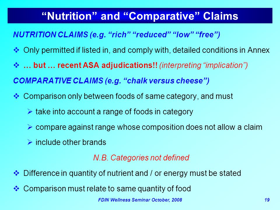 Nutrition and Comparative Claims
