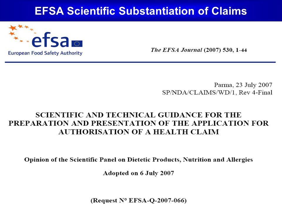 EFSA Scientific Substantiation of Claims