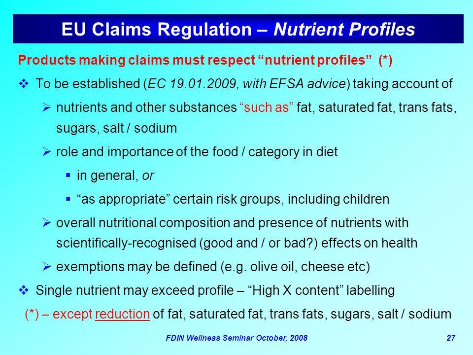 EU Claims Regulation – Nutrient Profiles