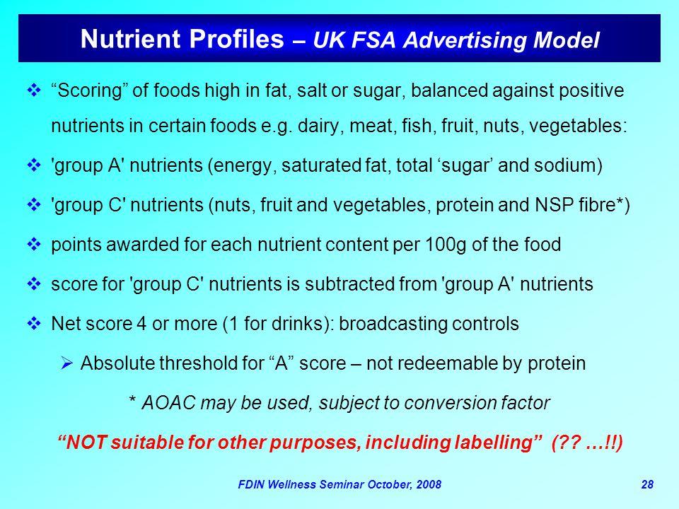 Nutrient Profiles – UK FSA Advertising Model