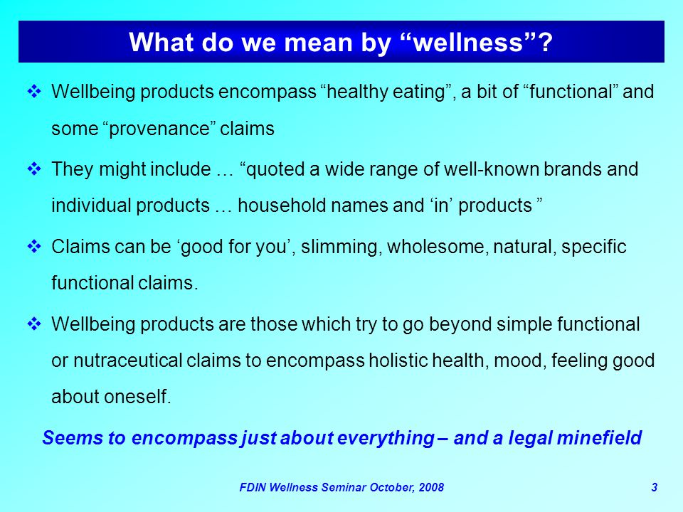What do we mean by wellness