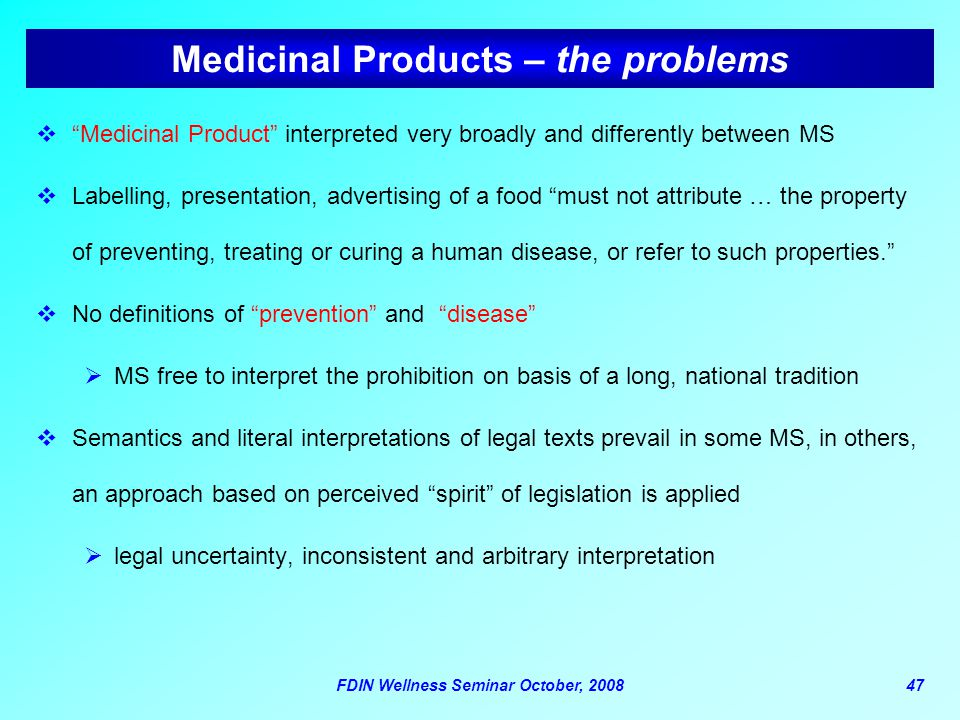 Medicinal Products – the problems