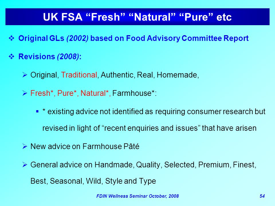 UK FSA Fresh Natural Pure etc