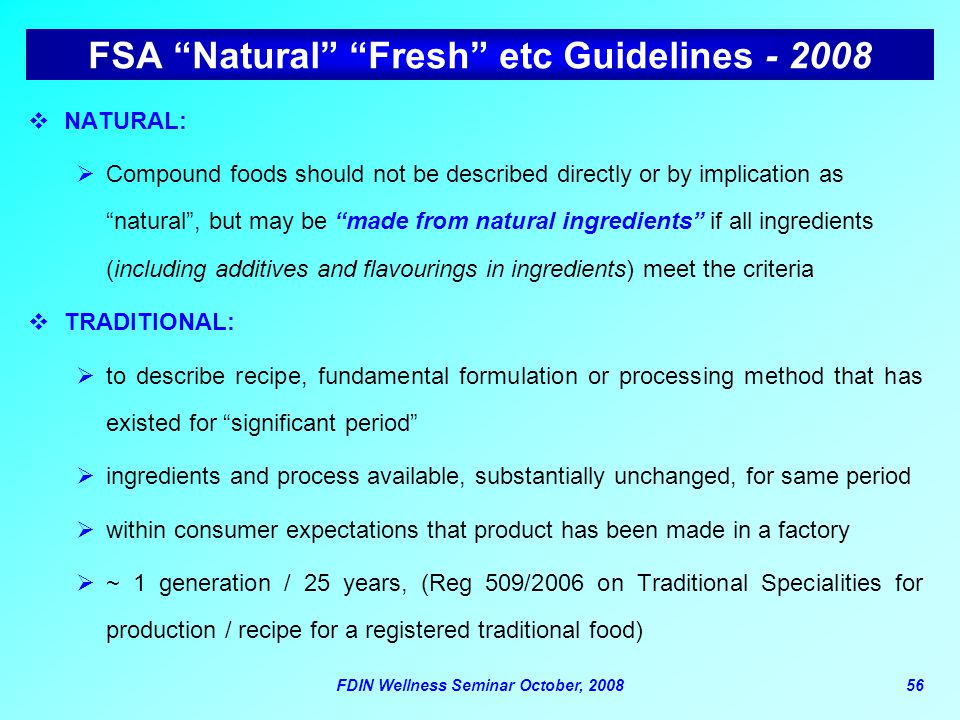 FSA Natural Fresh etc Guidelines - 2008