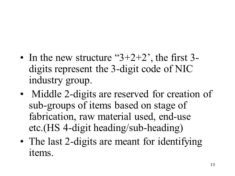 In the new structure 3+2+2', the first 3-digits represent the 3-digit code of NIC industry group.