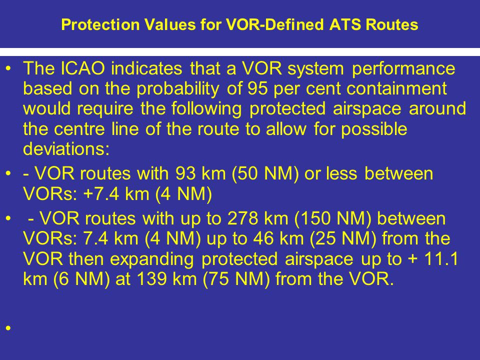 Protection Values for VOR-Defined ATS Routes