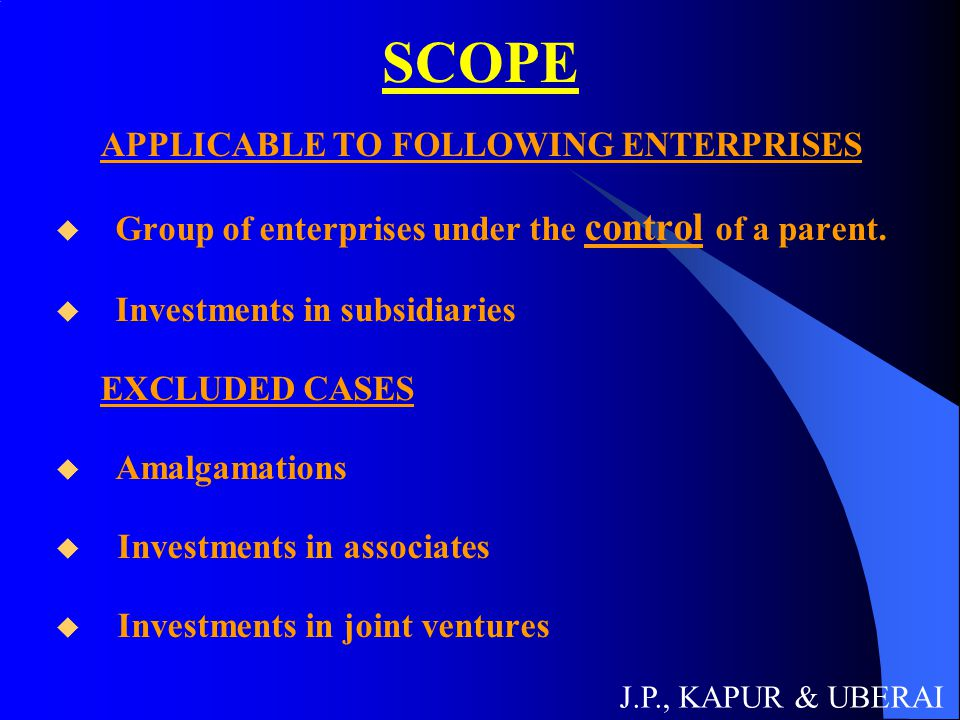 SCOPE APPLICABLE TO FOLLOWING ENTERPRISES