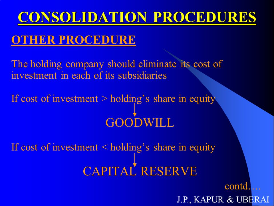 CONSOLIDATION PROCEDURES